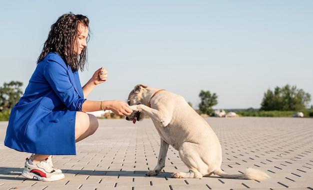 Jonge aantrekkelijke vrouw speelt met haar hond in het park