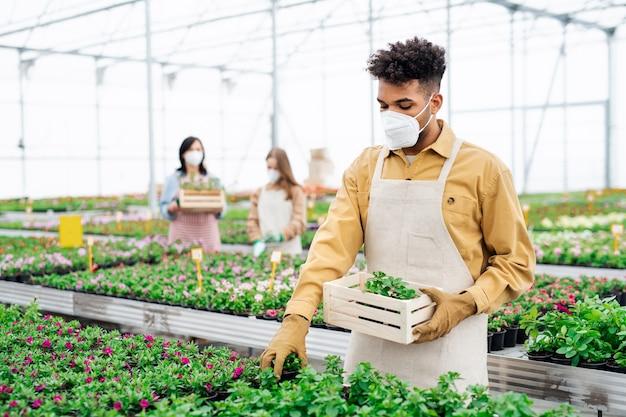 Jonge afro-amerikaanse man met gezichtsmasker aan het werk in kas, coronavirus concept.