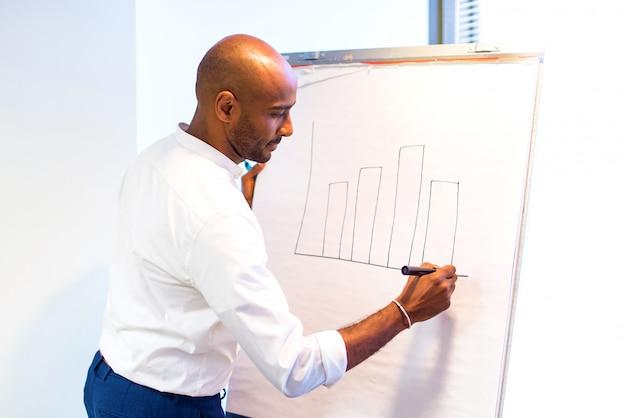 Jonge afro amerikaanse zakenman in het bureau die op whiteboard een planningsstrategie schrijven