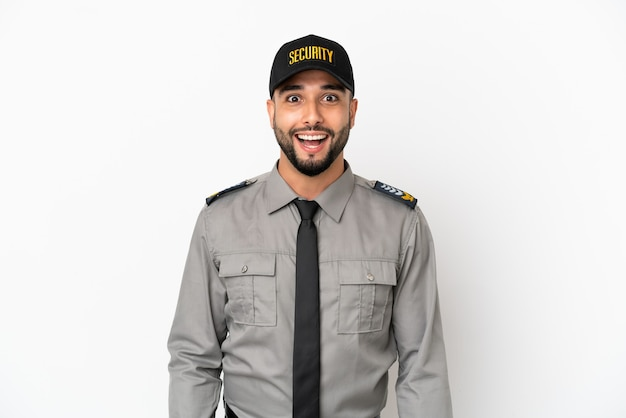 Jonge arabische man geïsoleerd op een witte achtergrond met verrassing gezichtsuitdrukking