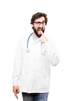 Jonge arts man braak teken
