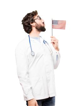 Jonge arts man met een vlag