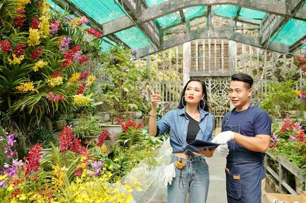 Jonge aziatische kassenarbeiders zoeken naar bepaalde planten in de kas en verzamelen een grote bestelling voor de klant