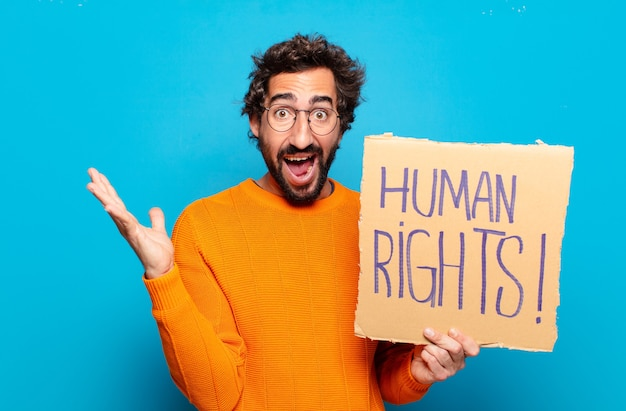 Jonge, bebaarde man mensenrechten concept