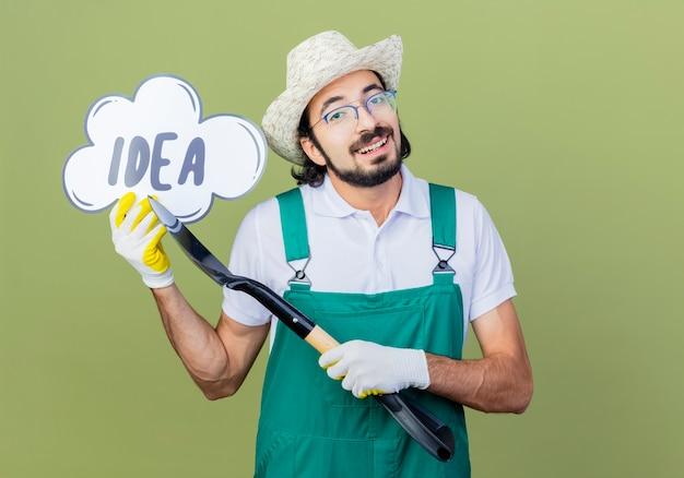 Jonge, bebaarde tuinman man met jumpsuit en hoed met schop presentatie van tekstballon bord met woord idee glimlachend staande over lichtgroene muur