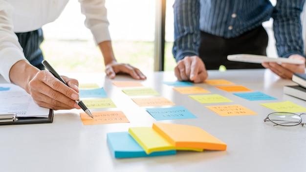Jonge bedrijfsmedewerkers die met sticky notes-stickers posten, herinneren creatieve brainstorming aan boord van de collega in een moderne co-working-ruimte