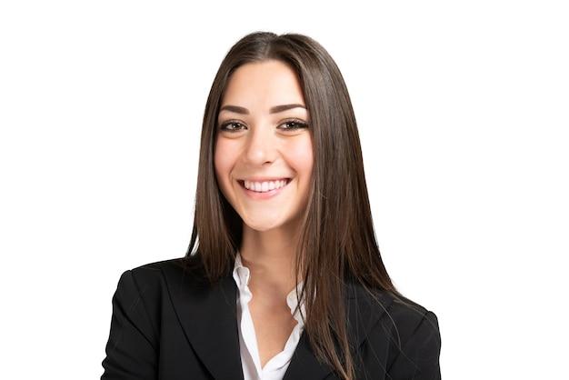 Jonge bedrijfsvrouw die op wit wordt geïsoleerd