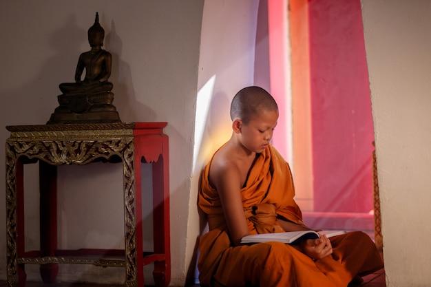 Jonge beginnermonnik die een boek lezen bij het historische park van ayutthaya in thailand