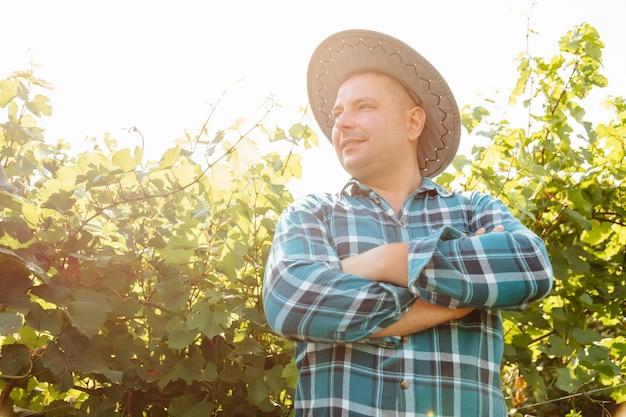 Jonge blanke wijnmaker met hoed in wijngaard met gekruiste armen staande in wijngaarden landbouw o...
