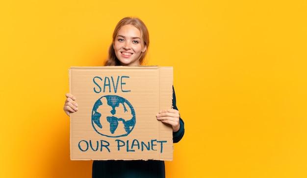 Jonge blonde vrouw. red het planeetconcept