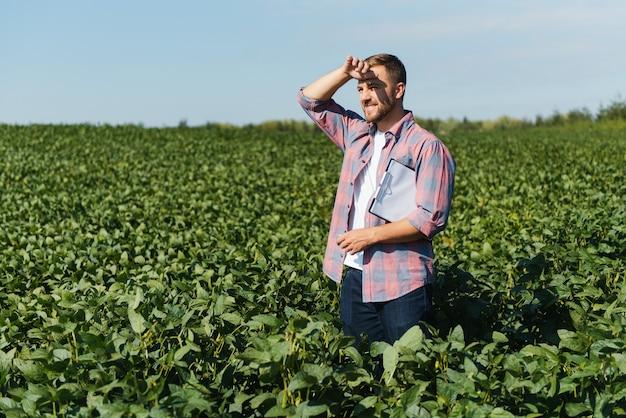 Jonge boer op sojabonenvelden