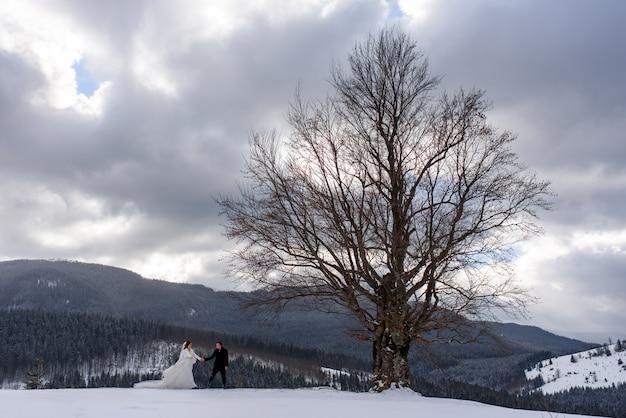 Jonge bruid en bruidegom op de besneeuwde berg