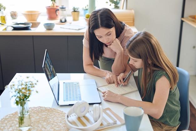 Jonge brunette vrouw in vrijetijdskleding wijzend op aantekeningen van tienerdochter in notitieblok terwijl ze haar helpt met thuisopdracht