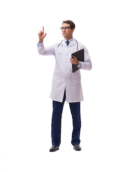 Jonge die arts op wit wordt geïsoleerd