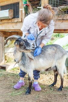 Jonge dierenartsvrouw met stethoscoopholding en het onderzoeken van geit op boerderij