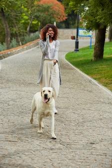 Jonge drukke mooie dame die met hond loopt en op telefoon spreekt
