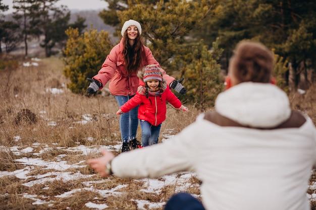 Jonge familie die samen in bos in de wintertijd loopt