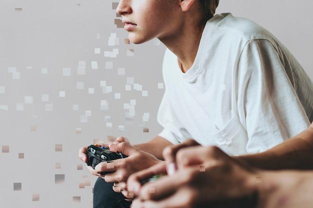 Jonge gamer in pixelverspreidingsstijl