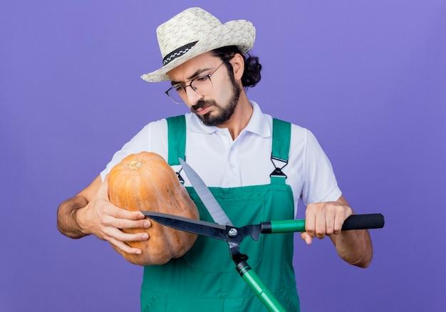Jonge, gebaarde tuinmanmens die jumpsuit en hoed draagt die pompoen houdt die het met ernstig gezicht bekijkt dat zich over blauwe muur bevindt