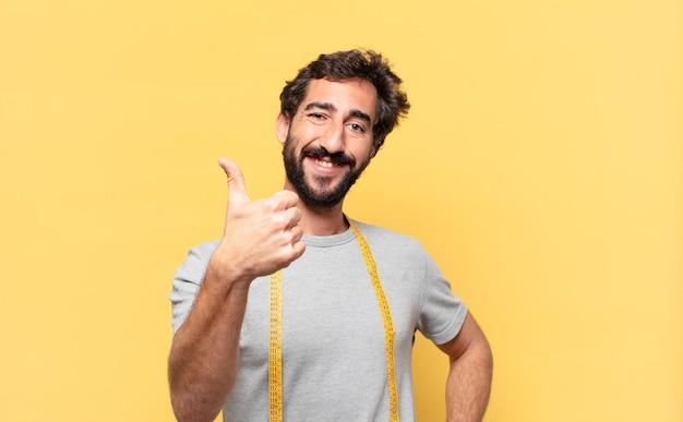 Jonge gekke bebaarde man die op dieet is, gelukkige uitdrukking
