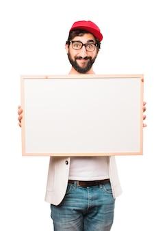 Jonge gekke zakenman met plakkaat