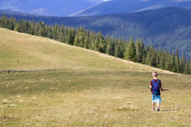 Jonge gelukkige kindjongen die met rugzak in berg grasrijke vallei lopen op achtergrond van de zomer bosrijke berg. actief levensstijl, avontuur en weekend activiteitsconcept.