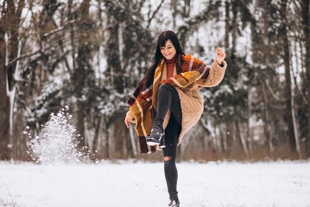 Jonge gelukkige vrouw in warme doeken in een winter park