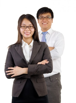 Jonge glimlachende zakenman en onderneemster