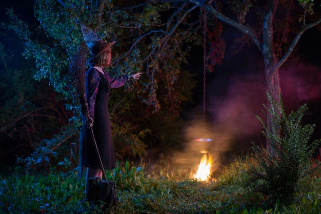 Jonge heks door brand in nachtbos