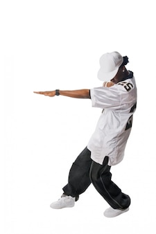 Jonge hip-hop danser op wit