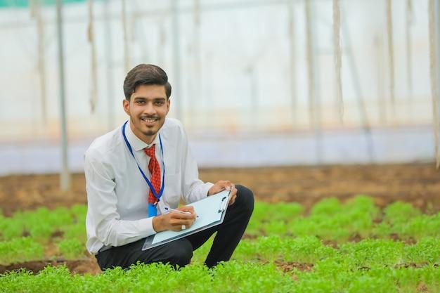 Jonge indiase landbouwingenieur gebruikt blocnote voor het verzamelen van informatie in de kas