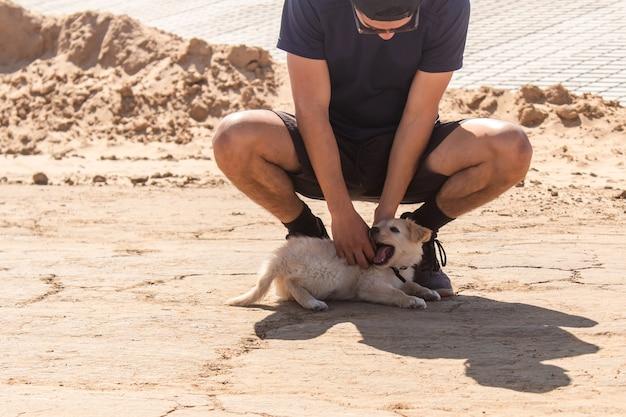 Jonge jongen aaien zijn puppy liggend op het zand.