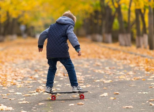 Jonge jongen in grijze jas staande op het skateboard van volledige lengte bekeken vanaf zijn rug in park loopbrug bedekt met gele bladeren