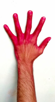 Jonge jongen schilderde handen naar het kleurpoeder in festival oh holi