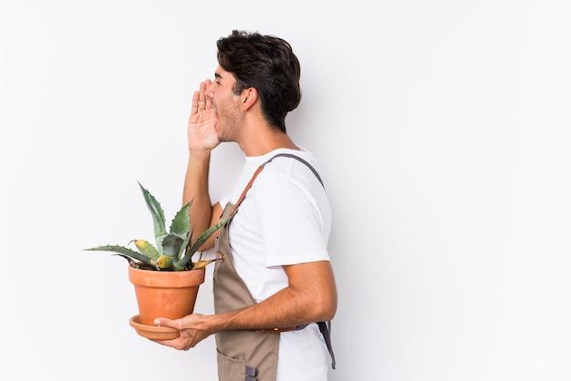 Jonge kaukasische tuinmanmens die een installatie houden schreeuwend en palm houden dichtbij open mond.
