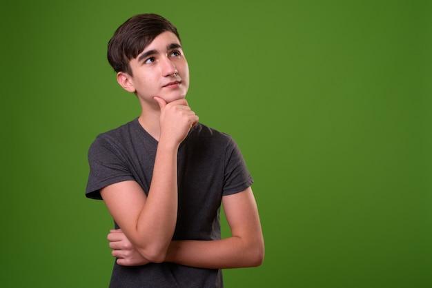 Jonge knappe iraanse tiener tegen groen Premium Foto