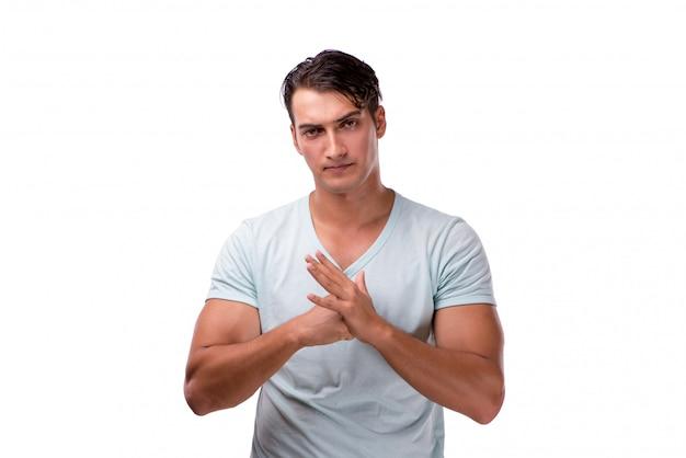 Jonge knappe man geïsoleerd op het wit