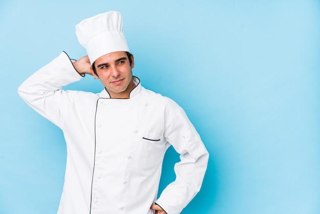 Jonge kokmens geïsoleerde wat betreft achterhoofd, het denken en het maken van een keus.