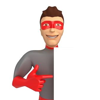 Jonge lachende man in een superheld kostuum