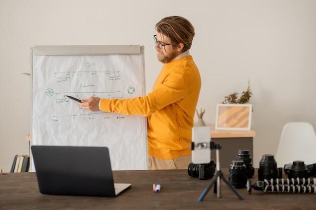 Jonge leraar in vrijetijdskleding wijzend op schriftelijke informatie op het whiteboard terwijl hij het tijdens de online les aan zijn publiek uitlegt