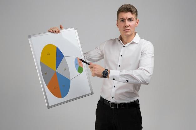 Jonge man die een poster met een diagram op een licht