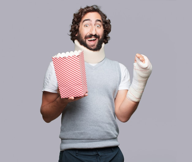 Jonge man gebroken botten. letsel en slachtoffer van een ongeval concept