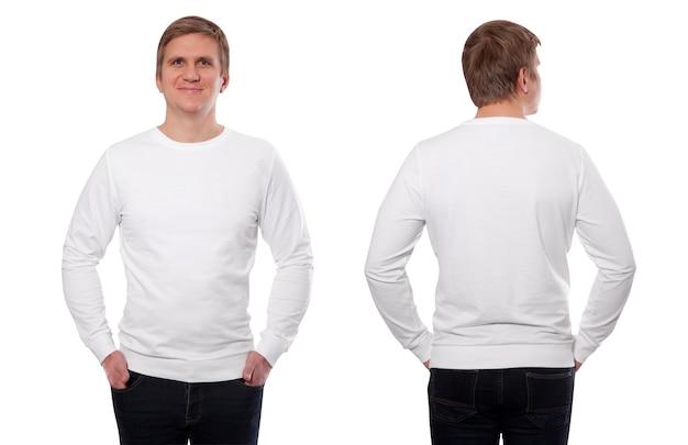 Jonge man in wit sweatshirt voor en achter