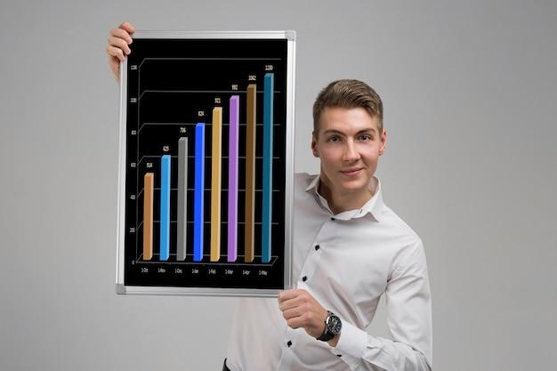 Jonge man met een poster met statistieken van een licht
