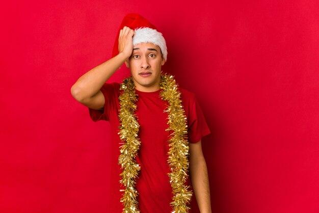 Jonge man op kerstdag wordt geschokt, ze heeft belangrijke vergadering onthouden.