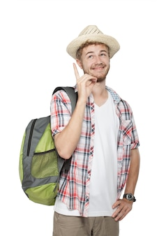 Jonge man toeristische glimlachen