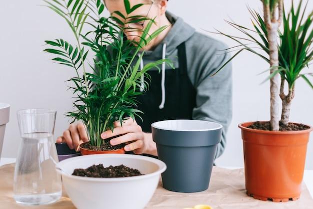 Jonge man tuinman in brillen plant in potten op de witte houten tafel overplanten en met behulp van tabletcomputer