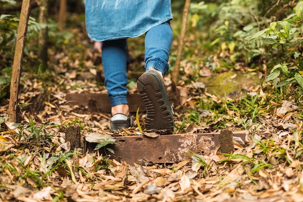 Jonge mannelijke backpacker die alleen in het bos wandelt