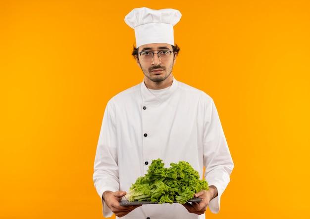 Jonge mannelijke kok die uniforme chef-kok en glazen draagt die salade op scherpe raad houdt