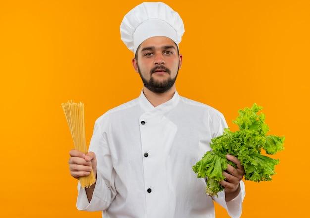 Jonge mannelijke kok in de sla en spaghettideegwaren die van de chef-kok eenvormig bedrijf geïsoleerd op oranje ruimte kijken